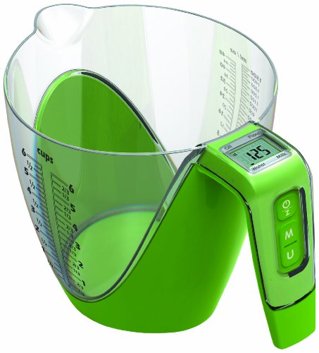 Wine Things Measuring Cup with Digital Kitchen Scale, Green