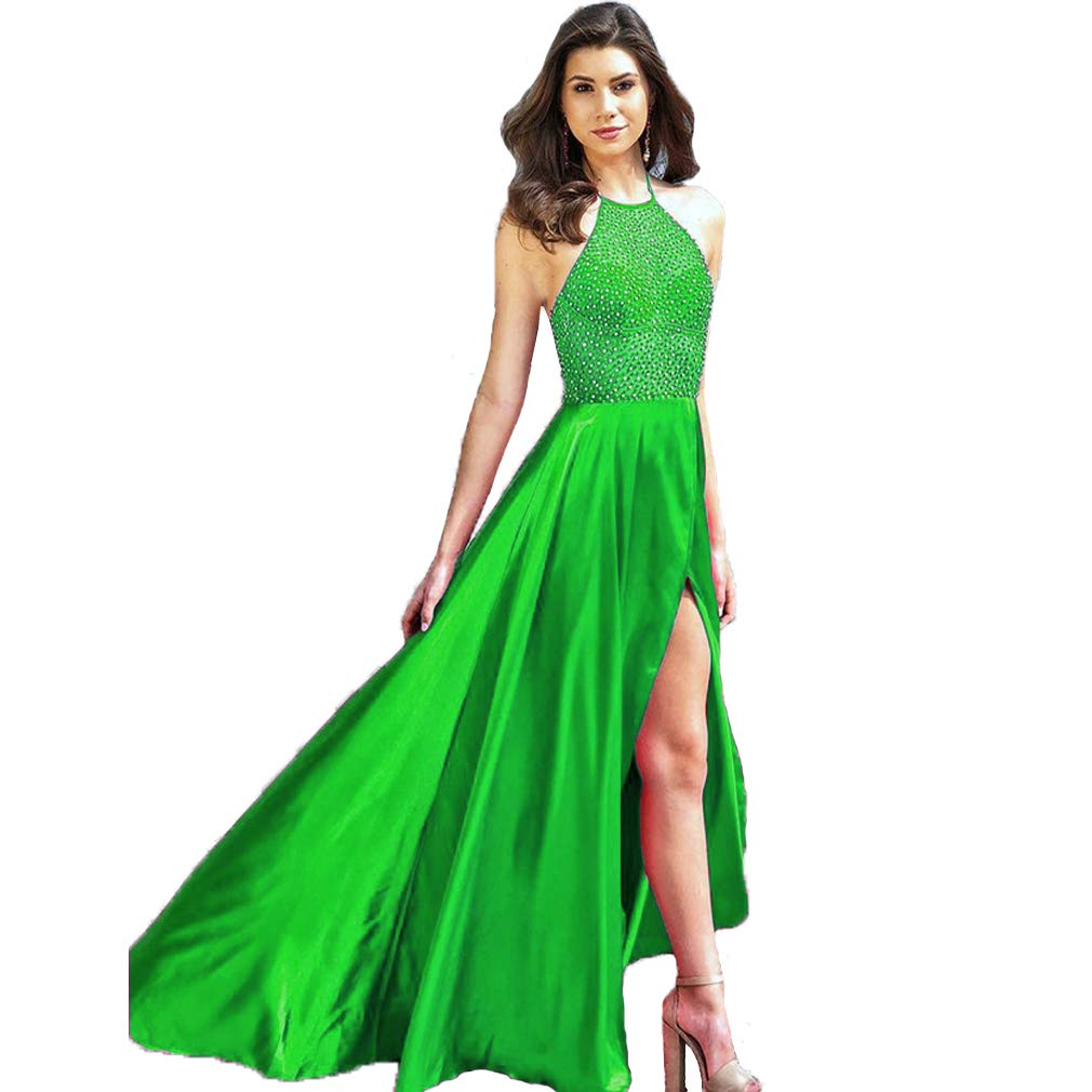 Green Fashionbride Women's Halter Backless Beaded Formal Party Gown Front Slit Long Prom Dress