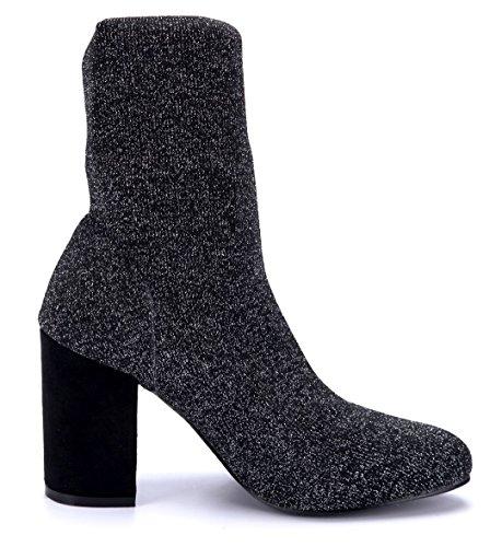 Schuhtempel24 Damen Schuhe Klassische Stiefeletten Stiefel Boots Blockabsatz Glitzer/Schlupf 9 cm Schwarz