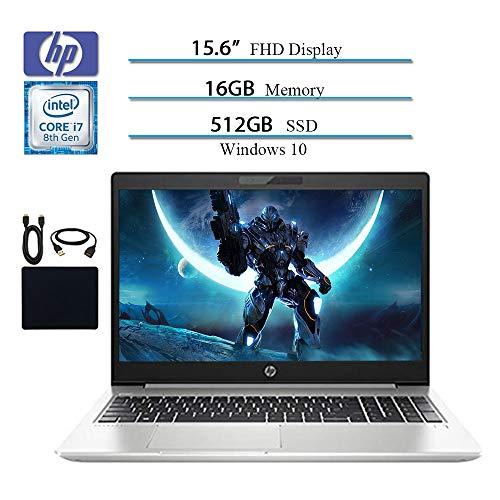 HP 2019 Premium Flagship Probook 450 G6 15.6 Full HD 1920x1080 Business Laptop, Intel 4-Core i7-8565U, Bluetooth, HDMI, Win 10 Pro, 16GB RAM, 512GB SSD w/ HESVAP Accessories