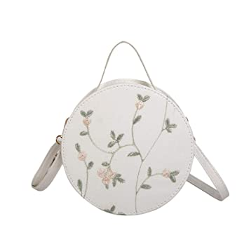 Amazon.com  NXDA Women Leather Embroidery Handbags Mini Round Tote Handbags  (White)  Beauty