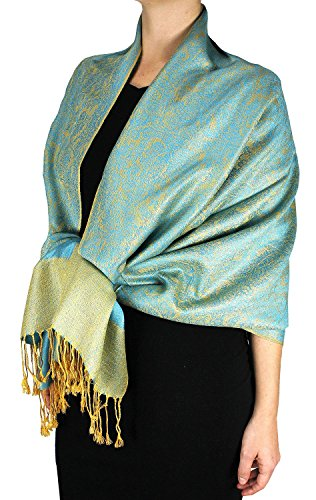 Peach Couture Elegant Vintage Two Color Jacquard Paisley Shawl Pashmina Wrap Turquoise and Gold