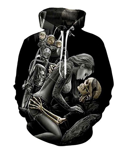 Men Hoodie Motorcycle Skull Ride Print Casual Pullovers Sweatshirt