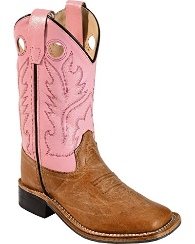 Old West Girls' Cowgirl Boot Square Toe Tan 2 D(M) US