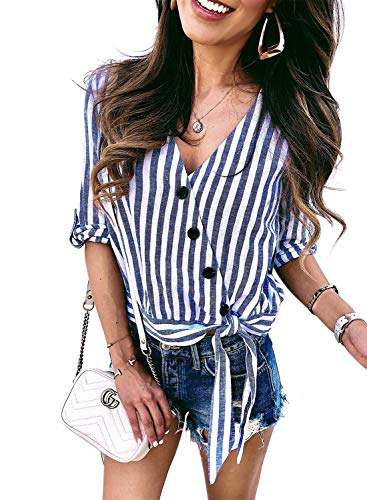 Asvivid Womens Stripes Button Down Blouses Summer Roll-up Short Sleeve Wrap V Neck Tie Knot Office Tunic Tops Plus Size 1X Blue