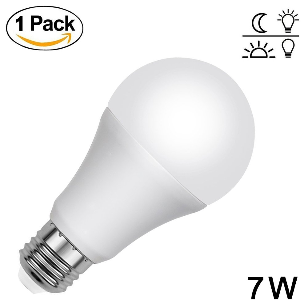 Aukora Dusk to Dawn Led Bulb - 7W E26/E27 Sensor Light Bulbs Built-in Photosensor Detection with Auto Switch Outdoor/Indoor LED Street Light for Front Door Garage Basement Hallway(Cool White)