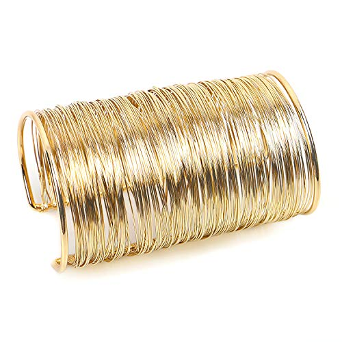 QTMY Alloy Metal Gold Thin Thread Wire Open Cuff Wide Bracelet Bangle for Women(Thin Thread Wire Bracelet)