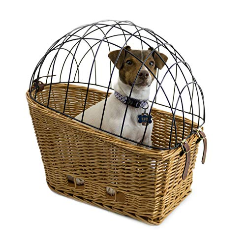 Cape May Large Rear Mount Willow Bicycle Basket for Dogs – Hand Crafted by Beach and Dog Co – Cage and mounting Bracket Included