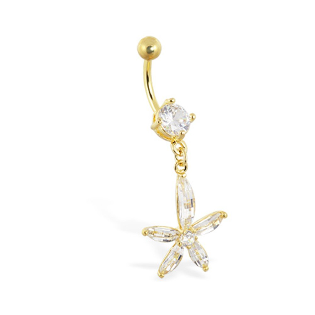 MsPiercing Gold Tone Belly Ring With Large Dangling Jeweled Flower