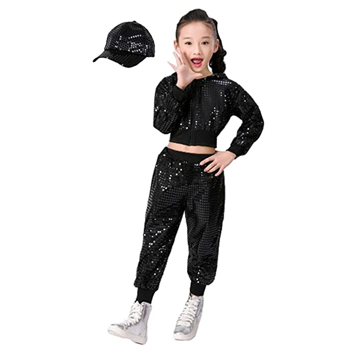 Children Girls Sequins Hip hop Costume Street Dance Clothing Set  Top+Pants+Hat