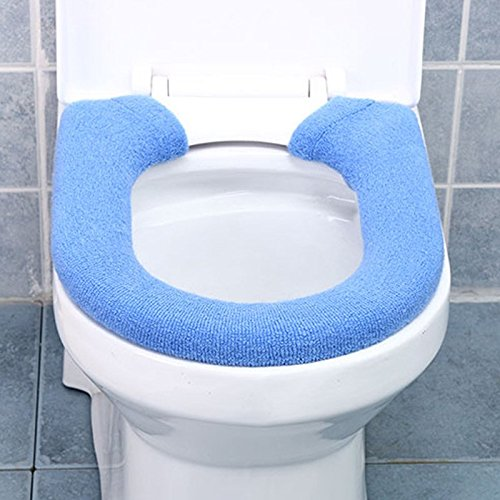 Pop Your Dream Washable Toilet Seat Pad Stretchy Corduroy Button Warmer Closestool Cover Mat For U-shaped and Oval Toilet Blue (U Toilet Seat)