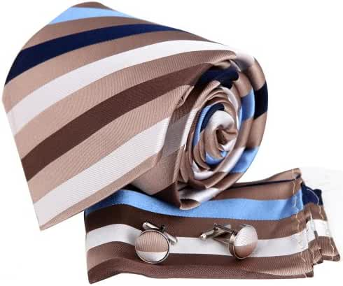 YAC1A09 Great Wedding Gift Idea Multicolored Striped Silk Neckte 3PT By Y&G