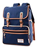 "SmileDay Vintage Flap Bookbag College Backpack | Fits 15.4"" Laptop 