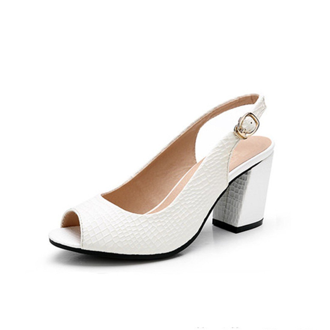 WXMDDN Sommer Sandalen Damen High Heel Arbeit Schuhe Schlangenleder Schuhe Weiblich Dicken Ferse Fisch Mund Sandalen