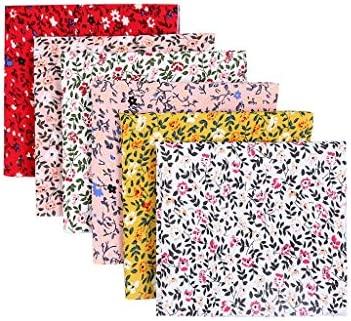 Chezaa Cotton Fabric Squares 6/12pcs Quilting Sewing Floral Precut Fabric Bundle Square Patchwork Sheets 10 X 10 Inches (25x25cm) for Craft DIY Sewing Scrapbooking Elastic Rope Artcraft