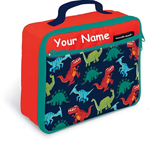 - Personalized Crocodile Creek Kids Dinosaur Dino Creatures Red Lunchbox Lunch Bag Tote