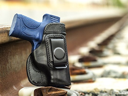 OUTBAGS USA LS2SHIELD (BLACK-RIGHT) Full Grain Heavy Leather IWB Conceal Carry Gun Holster for Smith & Wesson M&P SHIELD 9mm / 40 S&W. Handcrafted in USA.