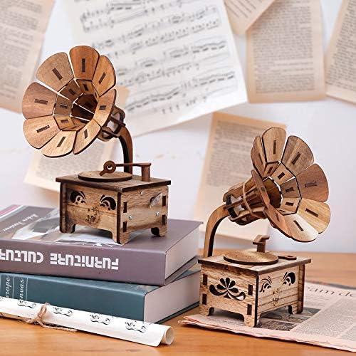 HoneyCare Classical Music Box Wooden Gramophone, Turntable Gramophone Art Disc Music Box, DIY Children\'s Birthday Gifts