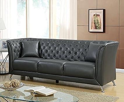 Amazon Com Luciana Gray Leatherette Sofa By Furniture Of America