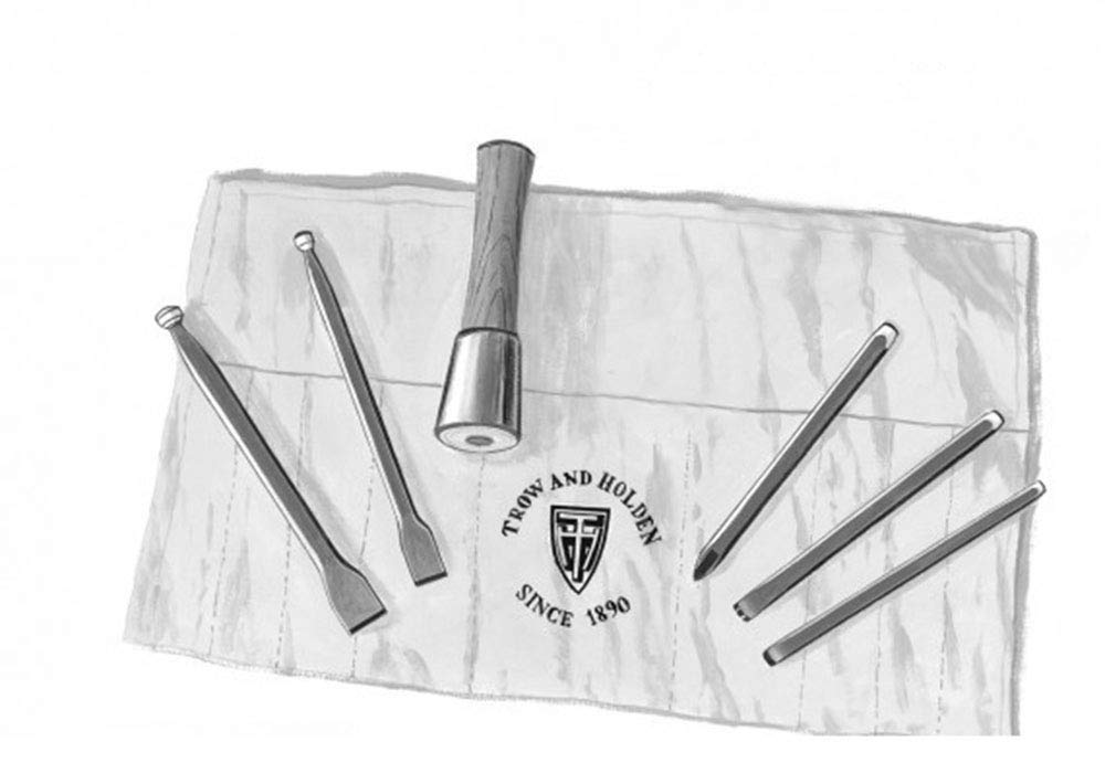 HARD STONE HAND CARVING SET WITH ROUND HAMMER by Trow and Holden (Image #1)