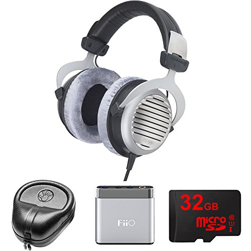 Electronics Consumer Slappa (BeyerDynamic DT 990 Premium Headphones 600 OHM (483966) with Slappa HardBody Headphone Case, FiiO A1 Portable Headphone Amplifier (Silver) & 32GB MicroSD High-Speed Memory Card)