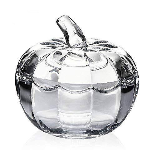 YSMYWM Vintage Pumpkin Shaped Clear Glass Candy Jar Food Snacks Storage Container Sugar Bowl Spice Jar with -