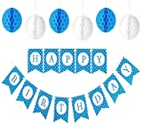 Happy Birthday Banner For A Boy With Set of 6 Large 8 inches Tissue Paper Pom Pom Balls - Blue Polka Dot Birthday Banner - New Designed Birthday Bunting Decorations Kit and Party Supplies For Kids