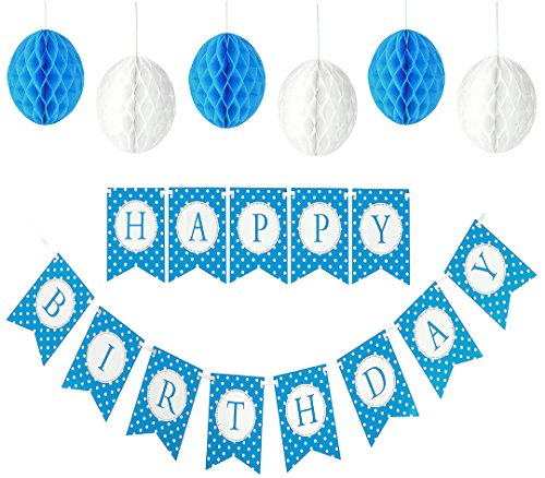 Happy Birthday Banner For A Boy With Set of 6 Large 8 inches Tissue Paper Pom Pom Balls - Blue Polka Dot Birthday Banner - New Designed Birthday Bunting Decorations Kit and Party Supplies For Kids (Cheap Cinderella Party Supplies)