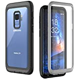 Samsung Galaxy S9 Case, Full Body Rugged Armor Cover Case with Built-in Screen Protector Support Wireless Charging Crystal Clear Case for Samsung Galaxy S9 5.8 inch 2018 Release (Grey/Black)