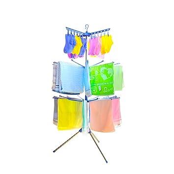 Baoyouni Pie plegable 3 niveles ropa a secado estante colgador ropa Airer con 24 Clips y 32 barras de toallas para uso interior, exterior (azul): Amazon.es: ...