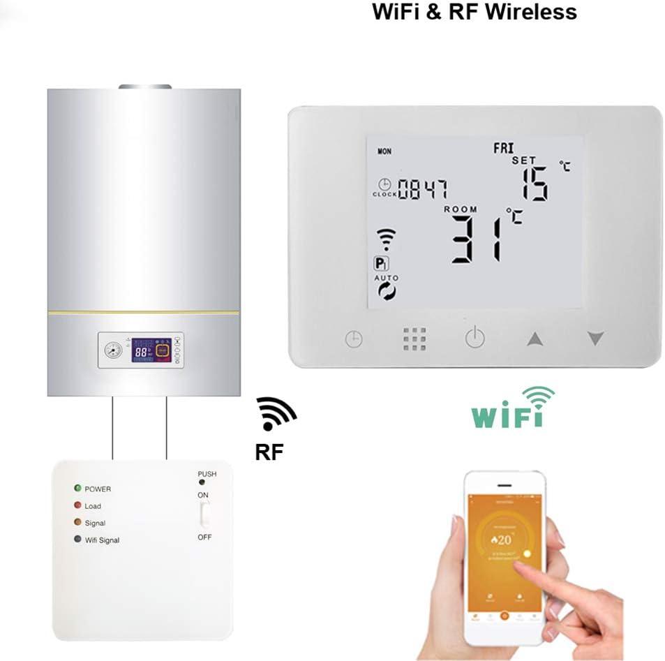 QAIYXM Termostato, WiFi y conexión inalámbrica de RF de Gas del termostato de la Caldera de calefacción de la Temperatura Mediante Controlador programable de Control Remoto