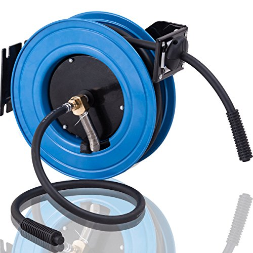 Retractable 25' Reel (Goplus Retractable Auto Air Hose Reel Metal Construction w/ Lock Mechanism, 3/8 in, Hybrid Hose, 300PSI)