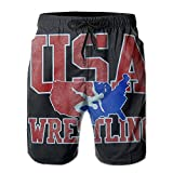 Oct USA Wrestling Logo Drawstring Closure Mens Boardshorts Swim Trunks Tropical Running Board Shorts Swimming Watershort