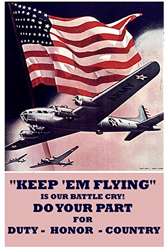Flying Sign Tin (Old Tin Sign Keep Em Flying Is Our Battle Cry 8 x 12 Inches WWII World War 2 ii Recruiting Posters 100% MADE IN THE USA)