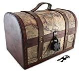 Well Pack Box Vintage Map Pattern Storage Trunk 13''x 9''x 9'' with Lock Pirate Treasure Chest Antique Style (Large)