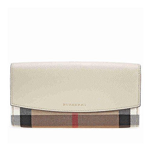 Burberry House Check and Leather Continental Wallet - Limestone