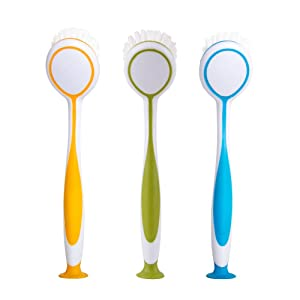 MR. SIGA Round Dish Brush, Size: Dia 5.5 x 25cm - Set of 3
