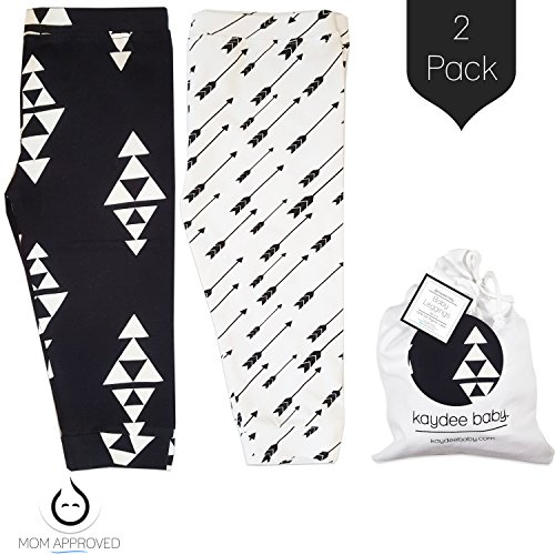 Kaydee Baby Leggings Variety Of Options - Set Of 2 Gift Set (Ages 0-24 Months) (6-12 Months, Arrows & Triangles)