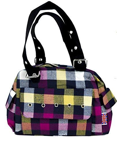 Pastel-Color-Stripe-Plaid-Hand-Bag-Punk-Lolita-Purse-with-Cell-Phone-Pocket