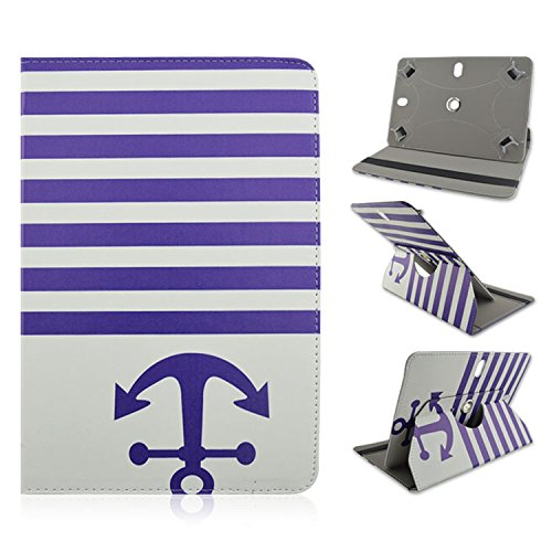 """Huawei MediaPad M1 8.0 8"""" 8 inch Tablet Blue Stripes Anchor Navy Design Design Universal Case Cover 360 Rotating Stand"""
