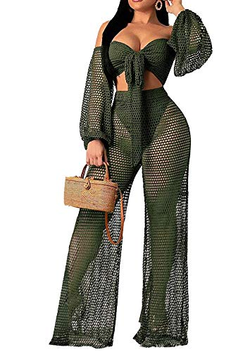 Women Sexy Hollow Out 2 Piece Outfits See Through Long Lantern Sleeve Tie Front Bandeau Top and Wide Leg Long Pants Set Green