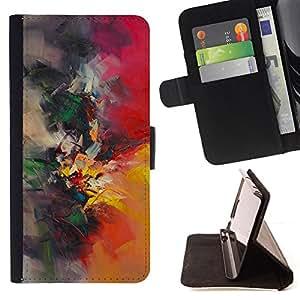 BullDog Case - FOR/Apple Iphone 4 / 4S / - / painting watercolor painter nature brush /- Monedero de cuero de la PU Llevar cubierta de la caja con el ID Credit Card Slots Flip funda de cuer