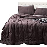 ANNA.Z HOME, Ethan Quilt, Stone Washed Microfiber Mini-Set Quilt, Allover Stitching and Embroidery, King and Queen Set Available in Solid Colors, Good for All Seasons. (Iron, King Set)