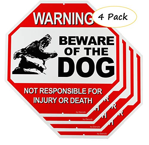 4-Pack Beware of The Dog Signs Warning for Fence/Yard/Gate,12x12 Rust-Free Aluminum UV Printed,Easy to Mount Weather Resistant Long Lasting Ink