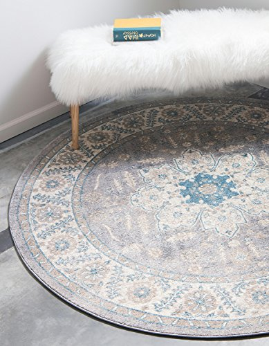 Unique Loom Salzburg Collection Traditional Oriental Gray Round Rug (5