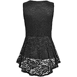 OrchidAmor Women Floral Lace Zip Up Tank Top Sleeveless Slim Vest Pure T Shirts Black