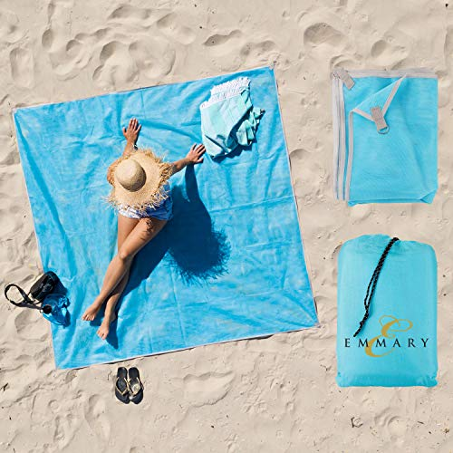 Beach Blanket and Free Microfiber Towel: Large Waterproof,Sand proof Folding Blankets and Accessories.Gear for park,lawn and camping.Oversized Outside rug for Adults and Baby.Compact Portable Travel