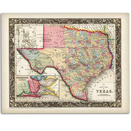 (County Map of Texas - 11x14 Unframed Art Print - Makes a Great Home Decor for Texans Under $15)