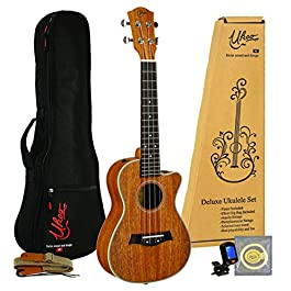 Concert Ukulele Mahogany 24″ by Ukoo Switzerland, Acoustic with Tuner, Aquila Strings, Gig Bag and Strap (Concert 24″ Acoustic)