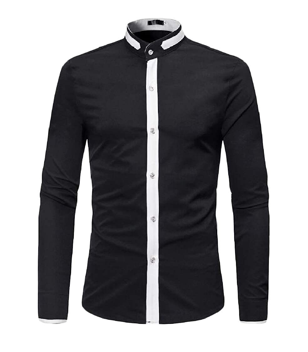 Lutratocro Mens Office Button Down Top Long-Sleeve Stand Collar Shirt